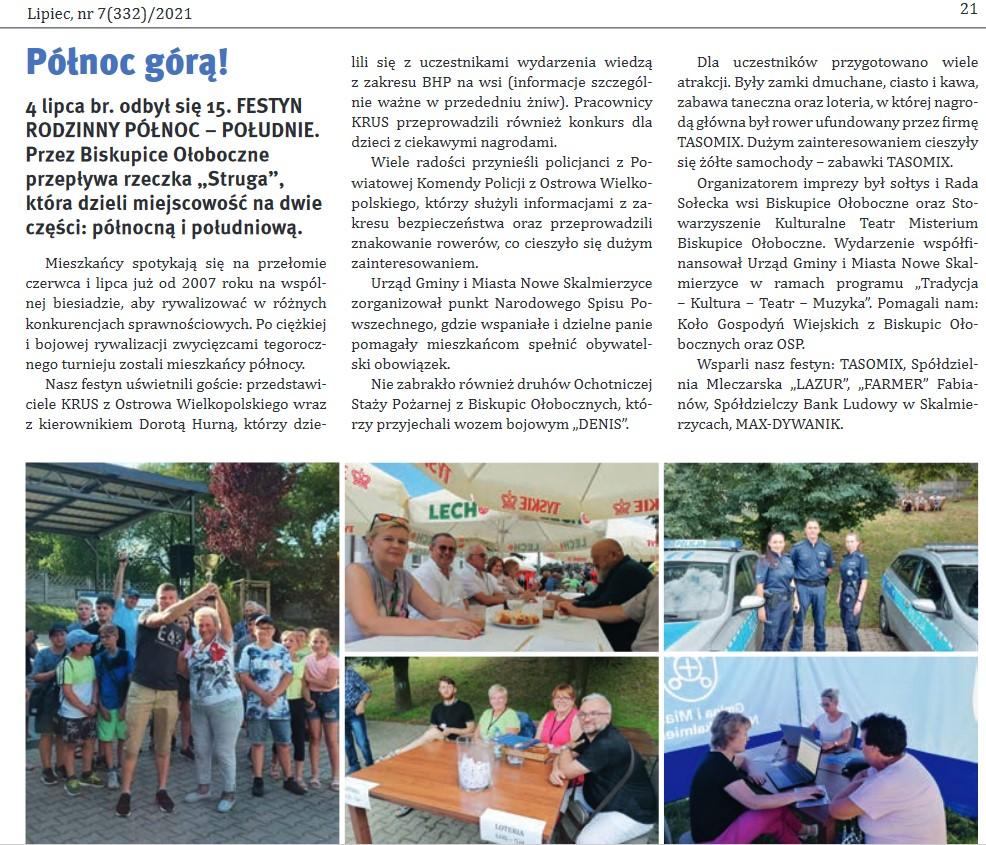 Gazeta Skalmierzycka 07/2021. Festyn Północ Południe Biskupice Ołoboczne.